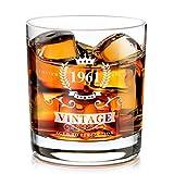 1961 60 ° Regalo di Compleanno per gli Uomini, Tumbler Bicchieri da Whisky Personalizzato Artigianale, Regalo per Gli Amanti del Whisky per Papà, Mamma, Vintage Divertente per il 60 ° Anni -320ML