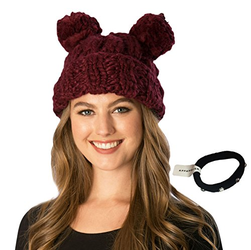 Simonetta Women's Handcrafted Soft Chunky Knitted Double Pom Pom Beanie Hat Hair Tie. (Burgundy)