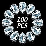 100 Cuentas de Diamantes de Imitación de Cristal en Forma de Lágrima DIY Cuentas Tridimensionales Facetadas de Vidrio Artesanía de Fabricación de Joyas para Mujeres Niñas