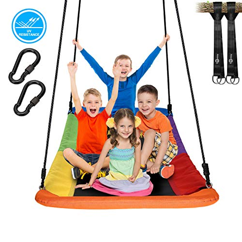 "Trekassy 700lb Giant 60"" Skycurve Platform Tree Swing for Kids and Adults Textilene Wear- Resistant with 2 Hanging Straps"