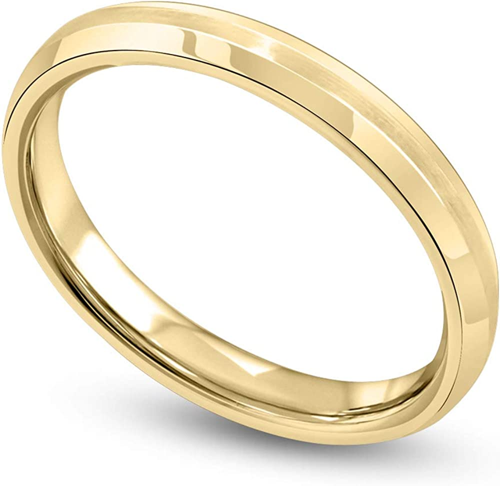 Danforth 14K White and Yellow Gold 3MM Satin Beveled Flat Comfort Fit Wedding Band