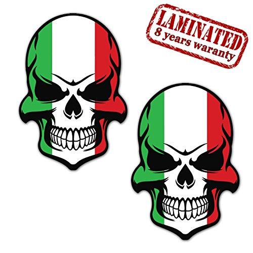 2 x Adesivi Vinile Stickers Skull Teschio Bandiera Italia per Auto Moto Casco Scooter Bici Motociclo Tuning B 130