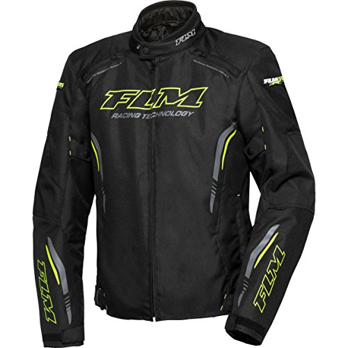 FLM Motorradjacke mit Protektoren Motorrad Jacke Sports Textiljacke 6.0 gelb XXL, Herren, Sportler, Sommer