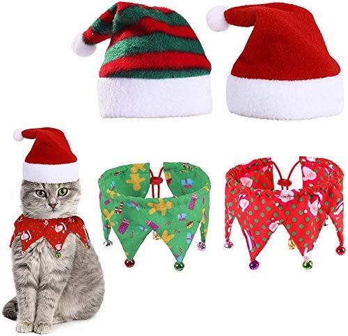 HOUHOU 2 Juegos Traje de Navidad del Gato, Collar del Gato de Santa Ropa for Mascotas con Campanas de Navidad Sombrero de la Bufanda for los Gatitos Festivales Pequeño Cachorro de Perro de decoración