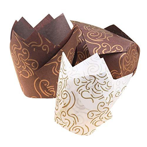 Gobesty Tazas para Muffins, Estuches para Muffins Estuches para Pasteles Papel pequeño para cursos de horneado Herramientas y Accesorios para hornos de Cocina, Color Blanco y marrón