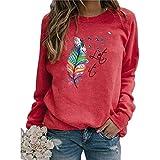Mysight Pullover Damen Feder Drucken Sweatshirt Langarmshirt Rundhals Langarm Shirts Herbst Winter...