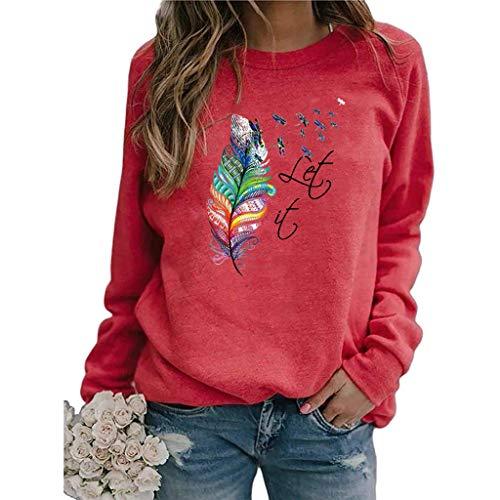 Mysight Pullover Damen Feder Drucken Sweatshirt Langarmshirt Rundhals Langarm Shirts Herbst Winter Pulli Tops Oberteile