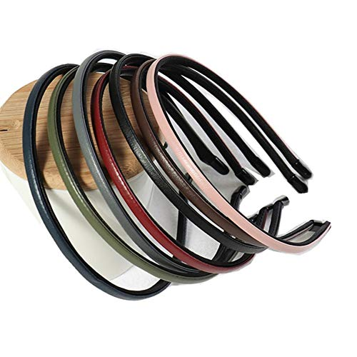 Bzybel Women Decorative Skinny 5mm Solid Leather Headbands Plastic Thin Hair Bands Hair Comb Elastic Bands Hair Ponytail Accessories with Teeth for Lady Girls Thick Fine Hair