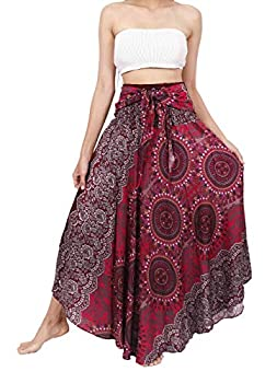 Banjamath Women s Long Bohemian Style Gypsy Boho Hippie Skirt  M Mandala Red 2