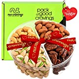 Valentines Day Gift Baskets for Her or Him, Gourmet Nut Platter, Red Ribbon (4 Mix Tray) - Healthy Food Arrangement, Care Package Variety, Prime Birthday Assortment, Kosher Snack Box for Families
