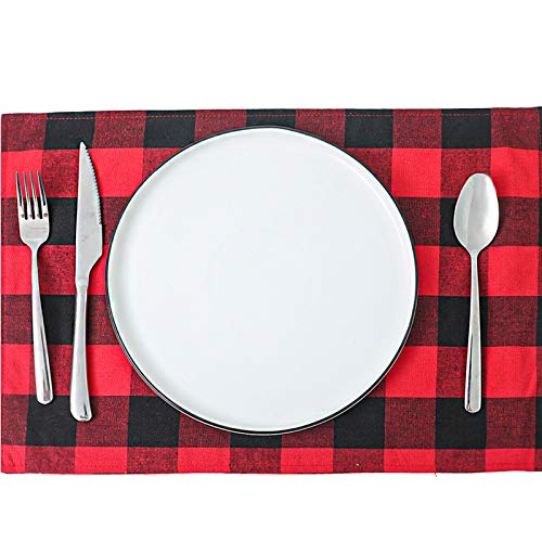 YoMont Christmas Table Decoration,Reusable Red Black Or Black White Buffalo Check Cloth Placemat for Home Holiday (Black and Red)