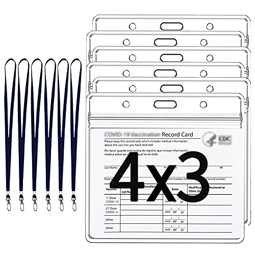 Nani? 6 Pcs Card Protector 4 x 3 in, Badge Holder, ID Badge Holders, ID Protector with Lanyard, Clear Vinyl Plastic Sleeve with Waterproof Type resealable Zip