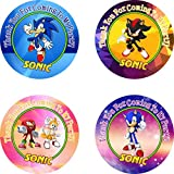 40 pcs SONIC THE HEDGEHOG Birthday Party Favor Stickers/Labels to Place onto Party Favor Bags,Gift, Goody Treat Bags or Cards, Boxes