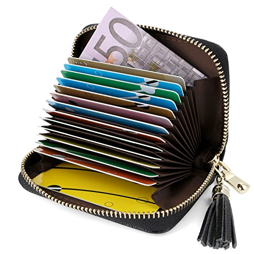 Kreditkartenetui Damen Leder RFID Schutz Reißverschluss, Kartenetui Damen Leder RFID Schutz Reißverschluss Mit Geldklammer (Schwarz)