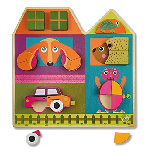 Oops Little Helper 3D Vibrant and Colourful Wooden Tree Puzzle with Animals and Car (19 Pieces)
