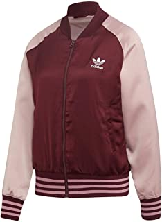 adidas Originals Women's Satin Bomber Jacket, Maroon/Pink Spirit, X-Small