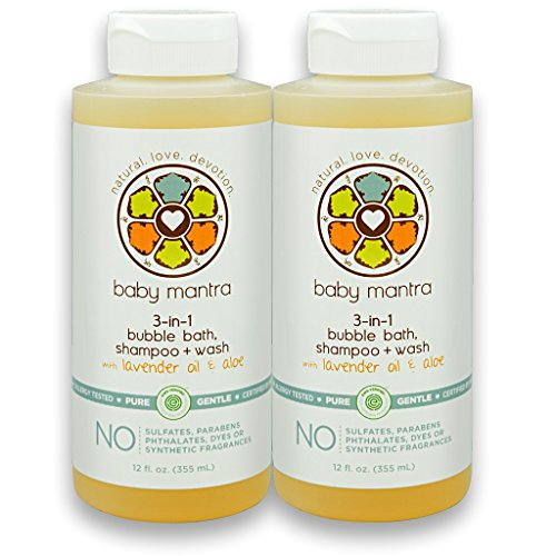 Baby Mantra 3-in-1 Natural Bubble Bath, Shampoo and Body Wash - EWG Verified Bath Bubbles for Infants, Toddlers, and Kids with Sensitive Skin, 12 Fluid Ounces (Pack of 2) [Package May Vary]