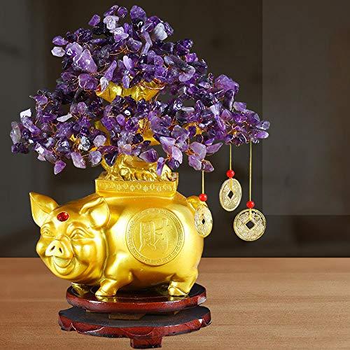 PinnacleT1 Crystal Money Tree Bonsai, Lucky Pig Fortune Tree Natural Carnelian Gemstone Chakra Crystal Tree Good Luck Feng Shui Tv Cabinet Furnishings Ornaments Home Decor