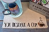 You Deserve a Cup - Burlap Coffee Station Placemat