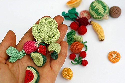 miniature food 1 piece pretend play food crochet vegetables market game Montessori Crochet chinese cabbage leaf soft toys kitchen