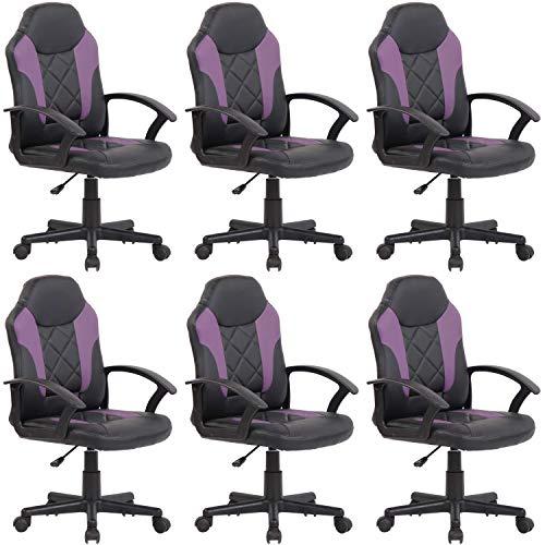 D&S Vertriebs - Silla de oficina infantil (6 unidades), color negro y morado