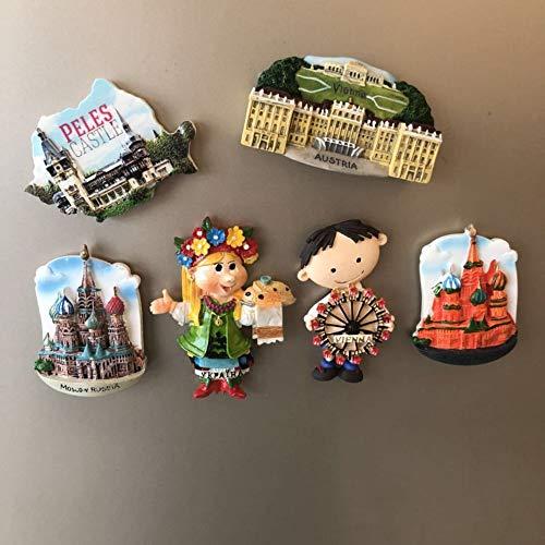 yqs Fridge Magnets 6pcs 3d Resin Fridge Magnets Souvenirs Australia Russia Tourist Colletctions Fridge Stickers Magnetic Home Decor Paste Gift Idea