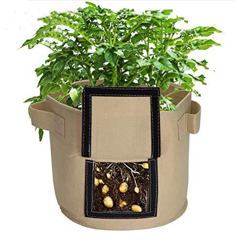 GOOHEAL Sacs de Culture de Pommes de Terre, Paquet de 3 gallons Kaki pépinière Tomate Plante Seau Tissu cultiver Pot Jardin, Sacs de semis de Fleurs