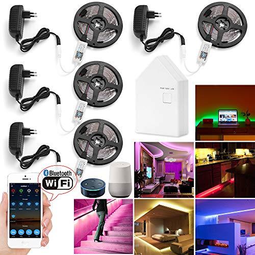 20M Striscia LED RGB per rete Bluetooth WIFI Striscia LED 600 (4x150) con Smart APP Controlled, Light Striping LED per tubi 5050 12V 5A per la decorazione domestica