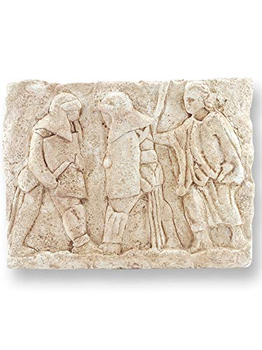Forum Traiani Relief Gladiatoren-Kampf in der Arena, antike römische Wand-Deko, archäologische Museum Replik, das alte Rom