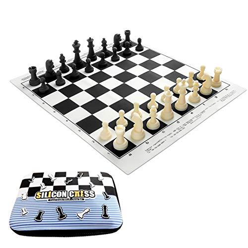 Wenhe Ajedrez juego de mesa para niños, de silicona, portátil, de calidad alimentaria, para juegos, deportes, camping, viajes
