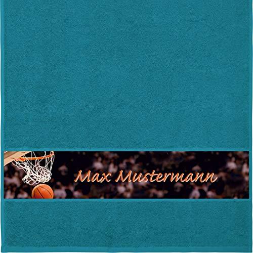 Manutextur Handtuch mit Namen - personalisiert - Motiv Sport - Basketball - viele Farben & Motive - Dusch-Handtuch - Petrol - Größe 50x100 cm - persönliches Geschenk mit Wunsch-Motiv und Wunsch-Name