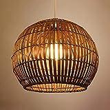 LITFAD Brown Globe Hanging Lamp Pastoral Single Light Rattan Pendant Light Decorative Ceiling Hanging Light for Dining Room Restaurant Hallway Corridor - 12' (30 cm)