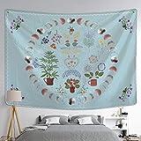 DLYIOP tapizTapiz de Fase Lunar Plantas Colgantes de Pared Flores celestiales Cielo Estrellado brujería Hippie decoración del hogar