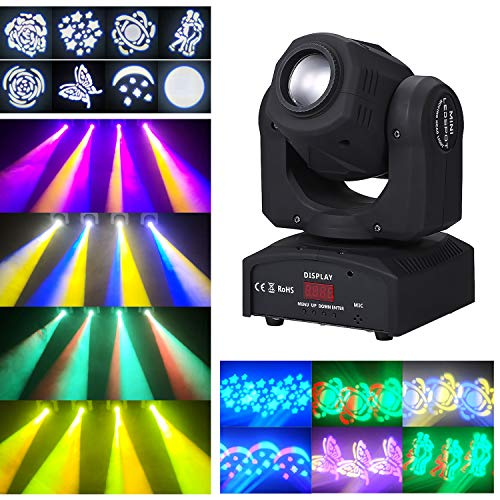 Lixada 90W LED Heads Moving Stage Light DMX512 Master-Slave Sound aktiviert Auto-Run 9/11 Kanäle drehen 8 Patterns 14 Farben Bühnenlampe für DJ Disco Club Hochzeitsfeier Dance Bar Beleuchtung
