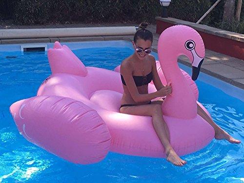 Beach Toy ® - Matelas Gonflable géant Flamant Rose, bouée 2-3 Personnes, Taille XXL: 190 x 190 x 130 cm