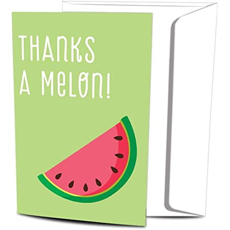 Watermelon Watercolor Pink Green Thanks a Melon Thank You Notes Size 5.5x4.25-1108 Thank you Cards Watermelon Thank You Cards