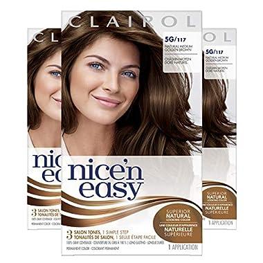 Clairol Nice'n Easy Permanent Hair Dye, 5G Natural Medium Golden Brown Hair Color, 3 Count