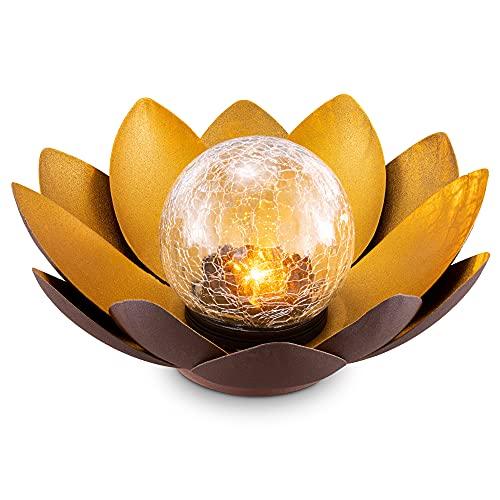 Navaris LED Solar Lotus Laterne - warmweiß wiederaufladbar - Lotusblüte Solarlampe mit tollem Licht durch Bruchglasoptik - Garten Deko Solarleuchte