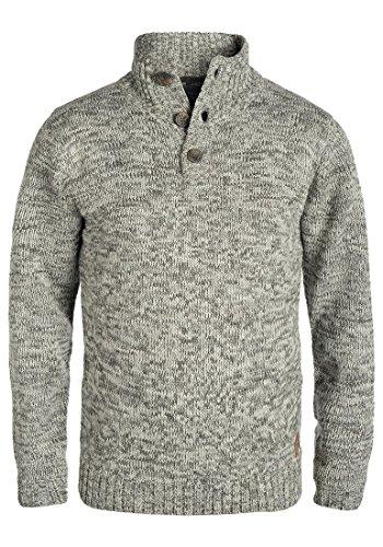 Blend Teno Herren Winter Pullover Strickpullover Troyer Grobstrick mit Knopfleiste, Größe:XL, Farbe:Pewter Mix (70817)