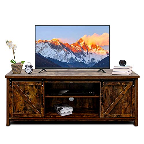 Bizzoelife 60 Inch Barn Door TV Stand Entertainment Center - New Farmhouse Style Sliding TV Cabinet, Living Room Wood Storage Media Console Table with 2 Center Compartments and 2 Cabinets (Rustic)