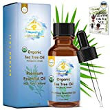 Organic Tea Tree Essential Oil - 100% PURE USDA Cert. Antifungal, Antibacterial, Therapeutic, All-Natural Extract for Aromatherapy, Acne, Skin, Hair, Dandruff, Nail Melaleuca Alternifolia & E-Book 1oz
