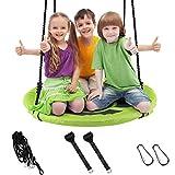 Caroma Nestschaukel Outdoor 150 kg Belastbar, Schaukel Garten für Kinder, Netzschaukel Outdoor Kinderschaukel Hängeschaukel für Indoor, Vogelnestschaukel mit Liegefunktion (100cm, Grün)
