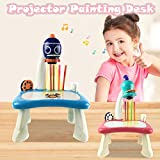 Dos colores Home Projector Learning/Drawing Painting Set,Child Smart Projector Desk With Light & Music, Enlightenment Early Education Intelligent Painting MachineToy 5 ml (Azul)