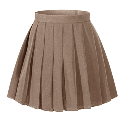 Girl`s Pleated Short Pleated Fancy up Costumes Skirts (M,Dark Brown)