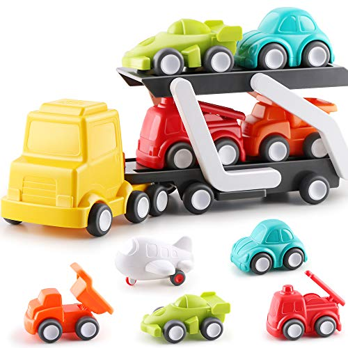 iPlay iLearn Car Carrier Truck Toy Set Push Go Transport Trailer Vehicles Playset W/ Airplane Fire Dump Truck Car Toddler Toys Birthday Gift for 18 24 Month 2 3 Year Old Infant Kids Boys Girls