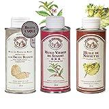 la tourangelle - pack de 3 huiles gourmandes : pépins de raisin arôme à la truffe blanche/vierge de