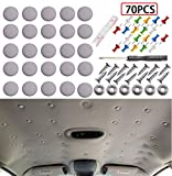 Niteguy 70pcs Car Roof Headliner Repair Button, Auto Roof Snap Rivets Retainer Design for Car Roof Flannelette Fixed,with Installation Tool and Fit All Cars(Grey Grid)…
