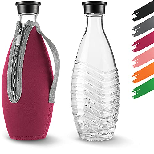 Siegvoll Schutzhülle für SodaStream Crystal Glaskaraffe 0,615 L | Bruchschutz Neopren Hülle für SodaStream Crystal Glasflasche mit Kühleffekt | Ideales Zubehör für unterwegs Rot (ohne Flasche)