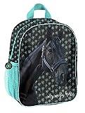 Mochila infantil con diseño de caballos, para niños y niñas, con compartimento principal y red para bebidas, varios diseños Negro Negro/azul (19 kn). 28 x 22 x 10 cm