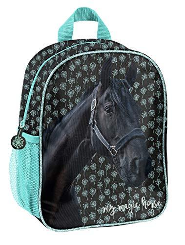 Pferde Fan Rucksack Kinderrucksack für Jungen und Mädchen (19KN) mit Hauptfach und Getränkenetz, 28 x 22 x 10 cm, schwarz/blau